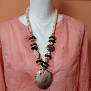 Large Vintage Shell and Wood Statement Necklace